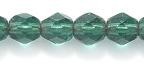 Preciosa Czech Fire 6 mm Faceted Round Polished Glass Bead, Copper Lined Emerald, 200-Pack