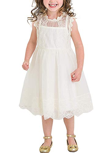 NNJXD Flower Girl's Wedding Dress Lace Sleeveless Tulle Summer Vintage Dresses Size (110) 3-4 Years White