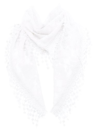 (LL Womens White Triangle Lace Scarf with Rose Pattern and Flower Tassels Light)
