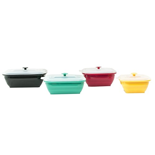Collapse-it Silicone Food Storage Containers 4-piece Rectangle Set - 6 Cup, 4 Cup, 3 Cup, and 2 Cup Size Capacity - Oven, Microwave, and Freezer ()