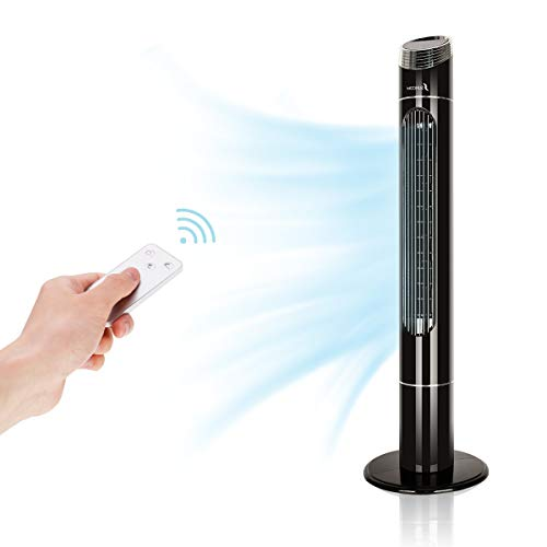Oscillating Tower Fan, Quiet Cooling 3 Wing Mode Fan with LED Touch Digital Screen, Remote Control, 43 Inch, Timer, Memory Function for Home and Office (Black)