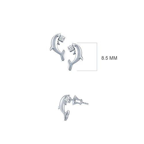 - La Joya 0.03 ct Round White Natural Diamond 925 Sterling Silver Dolphin Fish Tiny Earring