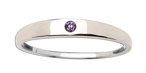 Sterling Silver Baby Ring with Amethyst in Classic Dainty Band