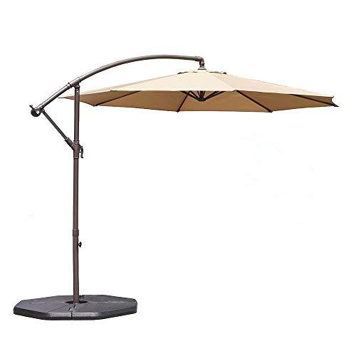 fset Hanging Patio Umbrella Aluminum Outdoor Cantilever Umbrella Crank Lift, Beige ()