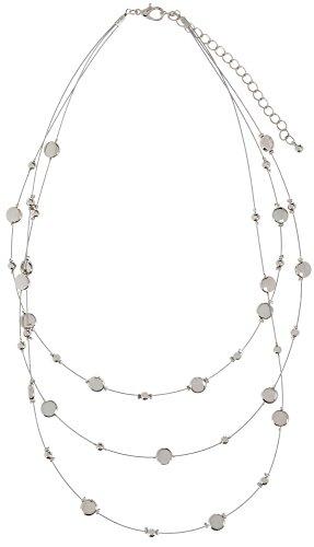Bay Studio 3 Row Discs & Beads Illusion Necklace One Size Silver tone - 3 Row Illusion Necklace