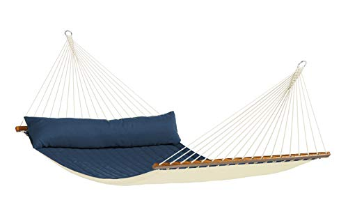 LA SIESTA Alabama Navy Blue – Weather-Resistant Quilted Kingsize Spreader Bar Hammock