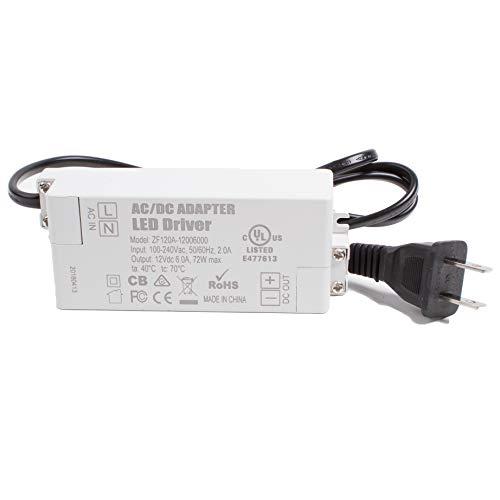 - LEDupdates UL Listed 12v 6A 72w LED Power Supply Driver AC Adapter Transformer for 12v LED Strip Module Puck Light