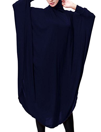 C Hoodie Long Dress Turkey Oversized Women's Solid Navy Asymmetrical amp;H Blue Muslim S6wrq4Sx