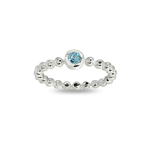 Sterling Silver Polished Beads Ring Made with Light Blue Swarovski Crystals, Size 6