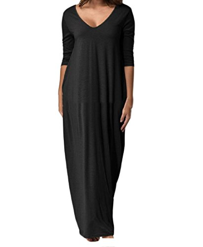 Baggy Plus Comfy Maxi Color Black Backless Size V Neck Pure Womens Dress Beach 1w1qtUf
