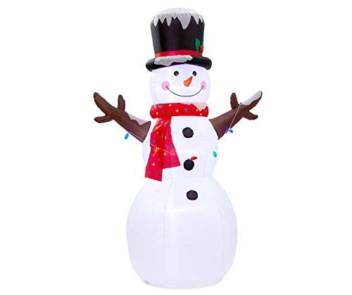 Winter Wonder Lane LED Inflatable Snowman with String of Christmas Lights, 8 Ft, Holiday Inflatable Frosty