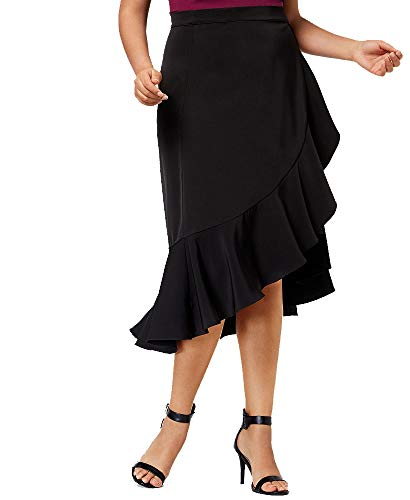 Soprano Womens Plus Office Wear Ruffled Wrap Skirt Black 2X