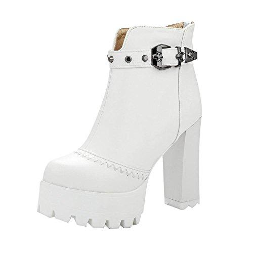 Mee Shoes Damen runde Reißverschluss Plateau chunky heels kurzschaft Stiefel Weiß