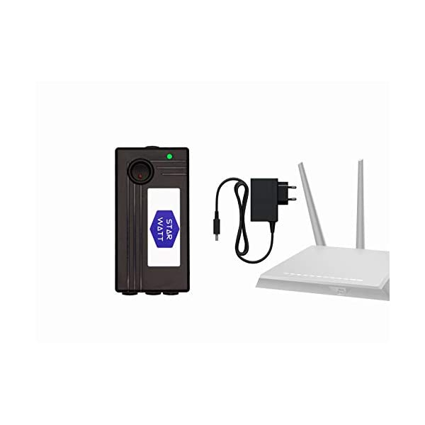 STARWATT WiFi Router UPS Dual 12V 1A + 12V 1A Output with 12V Adaptor for Router, Intercom, Set-top Box 2021 August Router Online UPS Supports All Type of 12V DC Wi-Fi Routers 12V - 0.5A, 12V - 1A, 12V - 1.5A, 12V - 2A. Backup time depends on current consumption of different make/ model of Wi-Fi Routers. This device will only support 12V Routers/ Modems. For 9V or 5V Routers, Refer to the other models. Dual Output Design lets you to connect your two 12V 1A Wi-Fi Router/ Modem with a single Device. Comes with a True 12V 2A Adaptor for Fast charging and powering two devices simultaneously. Complete Online UPS function with Zero Lag Switching- allows your Router/modem to seamlessly continue functioning during power outages. Comes with LED Indicator for Charging, UPS Running on battery, Fully Charged. Intelligent Charging: Starwatt Wi-Fi Router Online UPS has an intelligent battery management system that automatically charges the battery. It is designed for 24x7 usage. 3X Battery Life with Optimized CC-CV Charging algorithm ensures that the internal battery of Router Online UPS is charged safely and provide a much longer battery life. Up to 3-6 hours backup – 5800mAh Li-Ion Battery with intelligent Battery Management System.