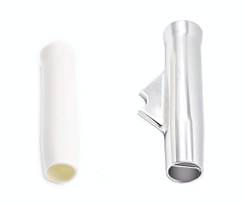 Marine City Aluminum Flared Weld-on White Vinyl Insert Fishing Rod Holder L: 10 Inches Dia.:1-7/8 Inches (4 Pcs)