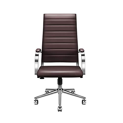 (LUXMOD Office Chair Executive High Back Chair with Arms, Brown Office Swivel Chair High Back Chair with Wheels, Leather Computer Chair, Ergonomic Desk Chair for Extra Back & Lumbar Support – Brown)