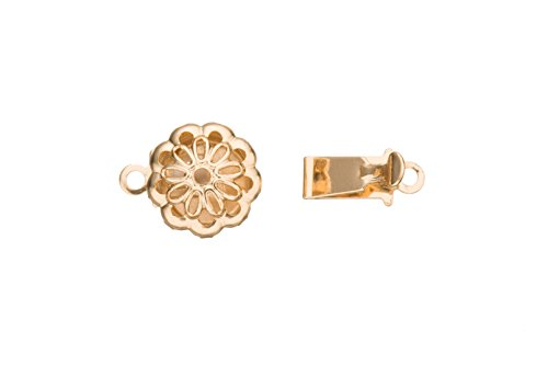 Round Box Clasp Filigree Flower Design 14K Gold Finished With Tab And Safety 14X9mm sold per 6pcs