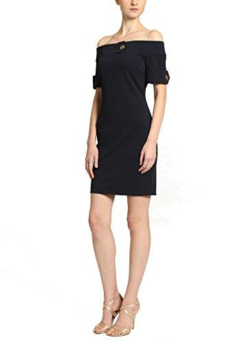 Badgley Mischka Cocktail Dress - Badgley Mischka Off Shoulder Short Sleeve Midcentury Cocktail Dress, Navy Blue, Size 8
