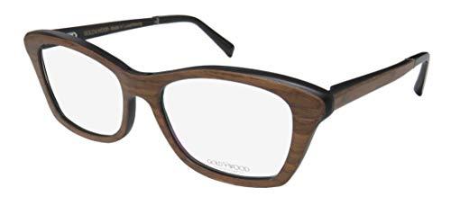 Gold & Wood Electra For Ladies/Women Cat Eye Full-Rim Shape Wood Spring Hinges Hot High-class Upscale Eyes Eyeglasses/Eyewear (52-16-140, Brown/Black) (52 16 140 Brille)