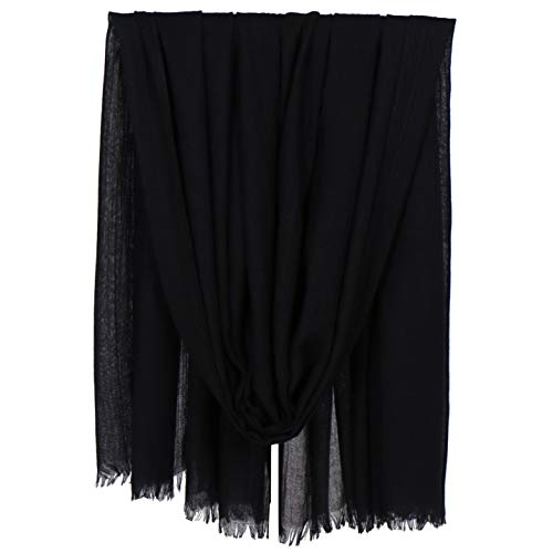 LMVERNA Cotton Scarfs For Women Lightweight Solid Color Fringed Hijab Linen Shawls And Wraps For Evening Dresses(Black)