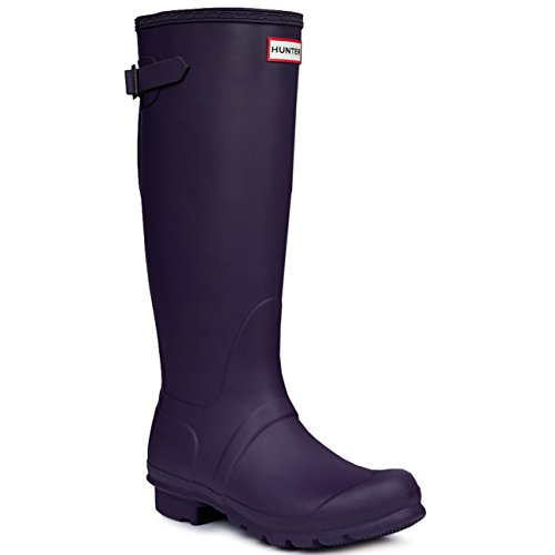 Hunter Womens Original Adjustable Back Gloss Rain Snow Wellington Boots - Navy - (Hunter Wellington Rubber Boots)