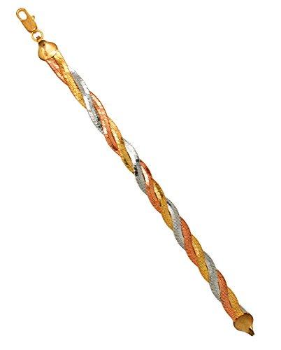 (Gold Plated Tri-Color Bracelet)