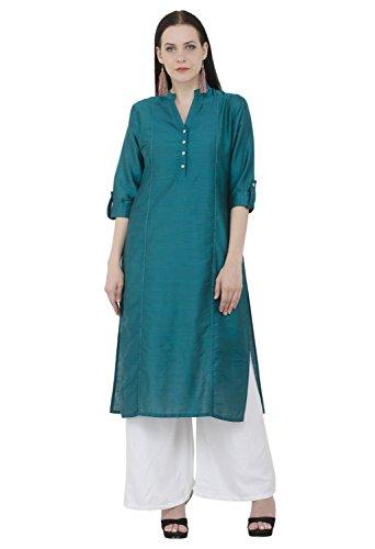 Lagi Designer Women's Polly Silk Straight Kurta Indian Tunic Top Womens Printed Blouse India Clothing by X-Large (Green)