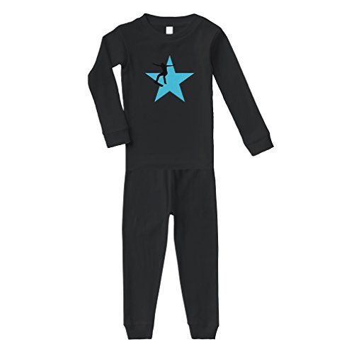 Skiing Snowboarding Ski Star Sport Cotton Long Sleeve Crewneck Unisex Infant Sleepwear Pajama 2 Pcs Set Top and Pant - Black, 24 Months (Skis Star Bindings)