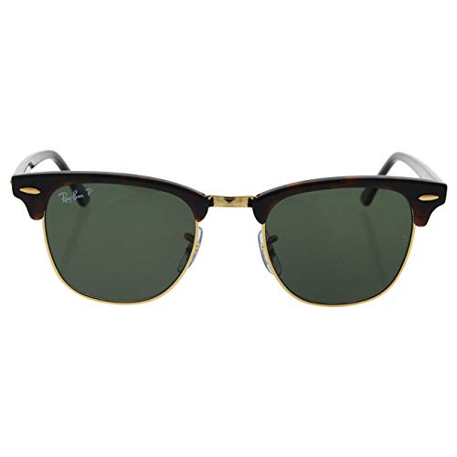 RAY-BAN RB3016 Clubmaster Square Sunglasses, Red Havana/Polarized Green, 49 mm by RAY-BAN