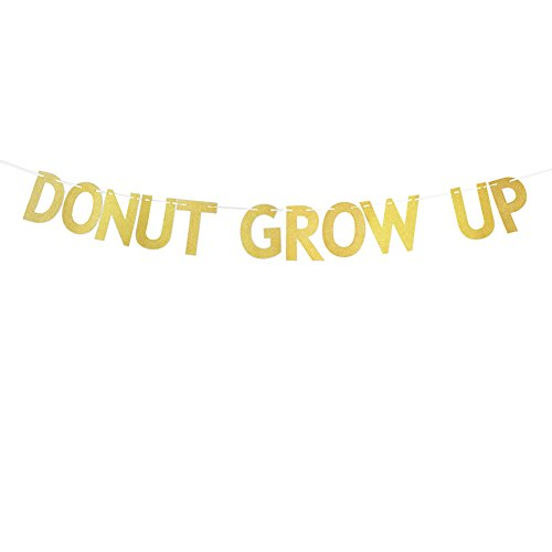 Church Anniversary Banner - Gold Glitter Donut Grow Up Banner Baby 1st Birthday Party Decoration Bunting Photo Booth Props Signs Garland