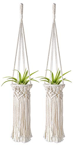 Mkono 2 Pack Mini Macrame Air Plant Holder Boho Tillandsia Hanger Modern Hanging Indoor Planter Home Deocor for Small Plants, Wall Decorations, Prefect Gifts