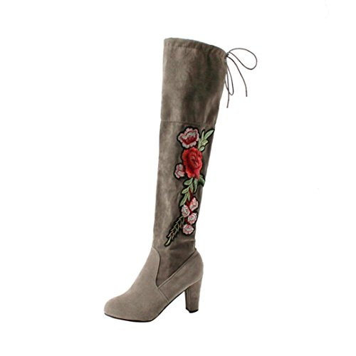 Elevin Boots Rose Over TM Embroider Slim Flock Gray The Boots Shoes 2018Women Knee Thigh High High Heels rSTq8Br