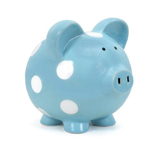 Child to Cherish Ceramic Polka Dot Piggy Bank, Light Blue