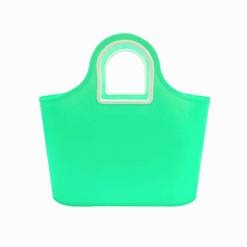 Little Monkey Plastic Koodai Multipurpose Shopping Storage Basket with Handle/Strong and Washable for Kitchen ; Picnic (34 cm X 22 cm) (Green D)