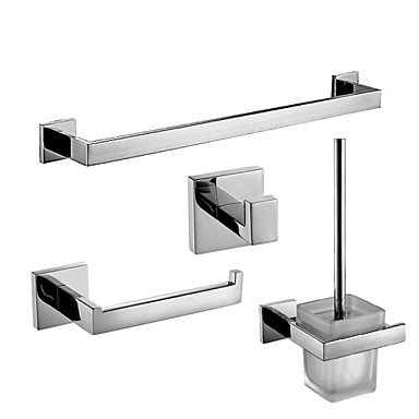 Modern Bathroom Mordern Silver Color 4Pc Brass Bathroom Accessory Settowel Bar Paper Holder Hook Brush And Holder by QCTRSY Bathroom Faucet