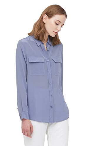 LilySilk Women's 100% Silk Blouse Long Sleeve Ladies Shirts 18 Momme Silk (Dusty Blue, L) ()