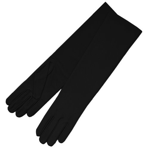 ZaZa Bridal 4-Way Stretch Matte Finish Satin Dress Gloves Below-The-Elbow Length-Black