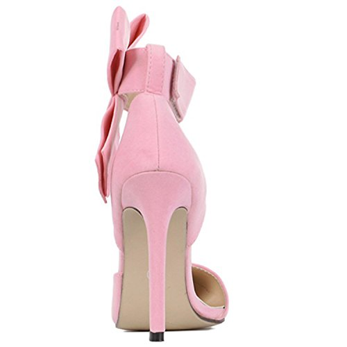 Pumps Green Beauty Pointed Toe Elegant High D2C Women's Heel Bow Stiletto Velcro PWFwvnf7q
