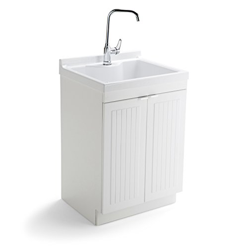 Simpli Home Murphy Laundry Cabinet with Faucet and ABS Si...
