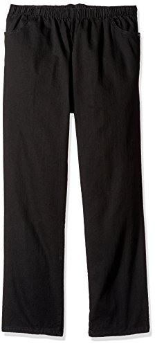 Chic Classic Collection Women's Petite Plus Cotton Pull-On Pant with Elastic Waist, Black Denim, 26P