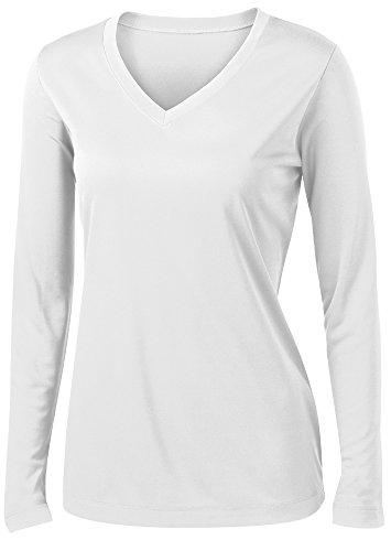 Ladies Long Sleeve Moisture Wicking Athletic Shirts Sizes XS-4XL WHITE-L -