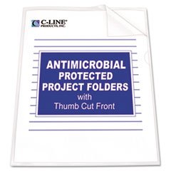 C-Line Antimicrobial Project Folders, Jacket, Ltr, Polypropylene, Clear, 25/pk Cline Scrapbooking Page Protector