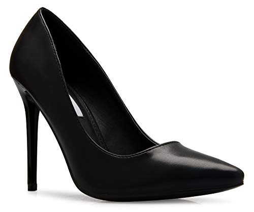 OLIVIA K Women's Classic D'Orsay Closed Toe High Heel Pump - Casual Comfortable Black ()