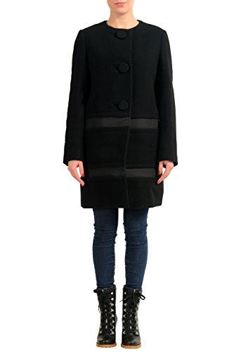 Moncler Women's Cappotto Black 100% Wool Insulated Coat Sz 1 US (Moncler Down Coat)