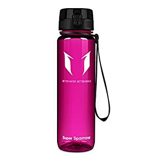 Super Sparrow Sports Water Bottle Multi-Size BPA Free & Eco-Friendly Tritan Co-Polyester Plastic - Fast Water Flow, Flip Top, Opens with 1-Click (Bright-Purple Powder, 500ml-17oz)