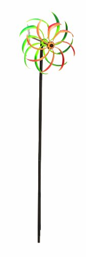 Panacea 88861 Kinetic Art Windmill with Dual Multi-Color Spiral Spinner, 51-Inch Height, Black Base Finish