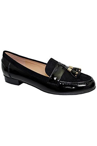 SAPPHIRE BOUTIQUE FLC009 Verve Womens Tassel Faux Suede Patent Flat Low Heel Loafer Shoes Black X2GHYlodgL