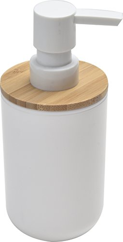 EVIDECO Bathroom Vanity Soap and Lotion Dispenser Padang White, Bamboo Top, White/Brown 310PQvjYqrL