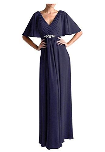 V Navy Charmant Brautmutterkleider A Abendkleider Ausschnitt Blau Damen Lang Partykleider Linie Chiffon Einfach wqUpqtPZ