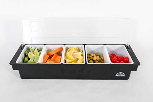 Fruit, Veggie & Condiment Caddy with Lid - Dispenser Tray For Candy, Dips & Salad Toppings | Bar Supplies For Catering & Parties | 5 x 20 Oz Compartments | Garnish Organizer Station for Restaurants (Garnish Tray)
